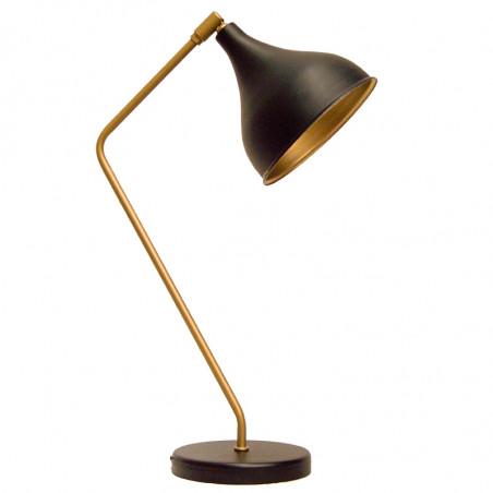 Lámpara flexo retro, estructura metálica en acabado negro mate y dorado, 1 luz, con pantalla metálica orientable.