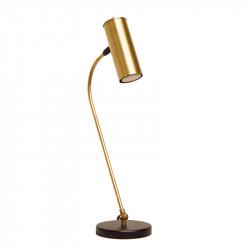 Lámpara flexo retro, estructura metálica en acabado negro, con elementos de latón en acabado satinado, 1 luz.