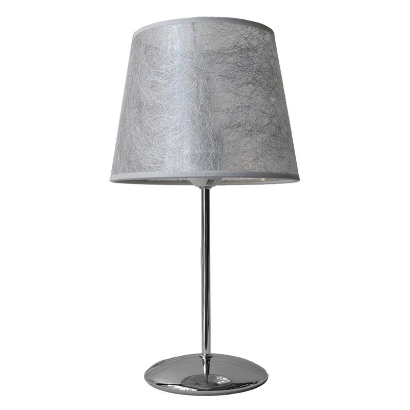 Lámpara de sobremesa moderno, estructura metálica en acabado cromo brillo, 1 luz, con pantalla cilindro Ø 20 cm.