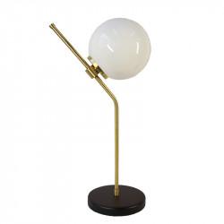 Lámpara de sobremesa, armazón de latón en acabado satinado, con elementos metálicos en acabado negro, 1 luz.