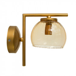 Aplique de pared, armazón metálico en acabado dorado, 1 luz, con tulipa de cristal Ø 14 cm en acabado ámbar.