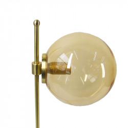 Lámpara de sobremesa, estructura de latón en acabado satinado, 1 luz, con difusor de vidrio soplado en bola.
