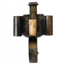 Aplique de pared,  rústico, estructura metálica en varios acabados, 1 luz, con vela.