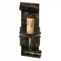 Aplique de pared rústico, estructura metálica en varios acabados, una luz con vela.