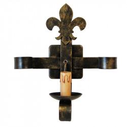 Aplique de pared rústico, Serie Lis, estructura metálica en varios acabados, una luz, con vela.