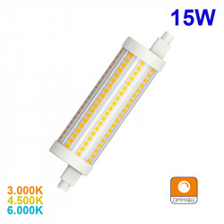 Bombilla LED R7S lineal, 15W 1.800 lm 3.000K, 4.500K ó 6.000K, 360º de apertura. 118x25 mm. Regulable / Dimmable.