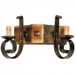 Aplique de pared, estructura de madera y metal en varios acabados, 2 luces, con vela.