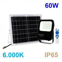 Proyector de exterior LED SOLAR, orientable, de aluminio en acabado negro, 60W 1.500 lm 6.000K, 120º de apertura.