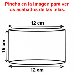Pantalla cilíndrica para lámpara ó sobremesa, para portalámparas E14, armazón metálico, pantalla Ø 12 cm