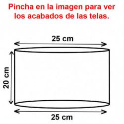 Pantalla cilíndrica para lámpara ó sobremesa, para portalámparas E27, armazón metálico, pantalla Ø 25 cm