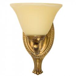Aplique de pared, de Bronce en acabado cuero, 1 luz, decorado con tulipa de cristal en acabado marfil.
