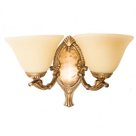 Aplique de pared, de Bronce en acabado cuero, 2 luces, decorado con tulipa de cristal en acabado marfil.