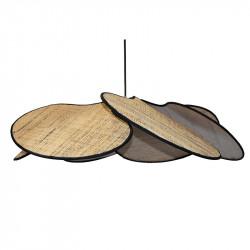 Lámpara de techo colgante, pendel con cable textil en negro, 1 luz, con pantalla pétalos 6 hojas en Rafia marrón con filo negro.