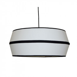 Lámpara de techo colgante moderno, pendel de plástico negro, 1 luz, con pantalla cilíndrica Ø 40 cm, con filo negro.
