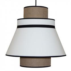 Lámpara de techo colgante moderno, pendel de plástico negro, 1 luz, con pantalla Ø 40 cm, doble.