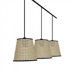 Lámpara de techo moderna, estructura metálica en acabado negro, 3 luces, con pantalla Ø 20 cm de Rattan