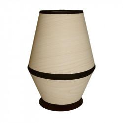 Lámpara de sobremesa moderno, estructura metálica, 1 luz, con pantalla Ø 14 cm en acabado Madera Natural.