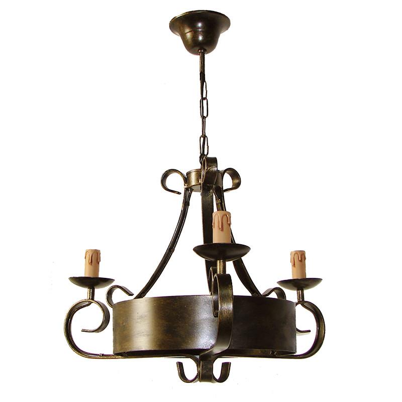 Lámpara de techo, de forja, armazón metálico en varios acabados, 3 luces, con vela.