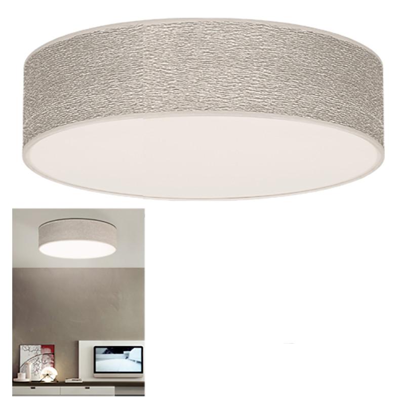 Lámpara de techo plafón, Ø 45 cm, 3 luces, con tela en acabado Hermitage Plata, con difusor en acabado pergamino blanco.