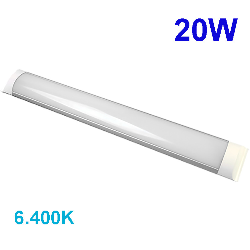 Lámpara de techo plafón, regleta LED, estructura de aluminio 20W 1.660 lm 6.400K, 120º de apertura, con difusor acrílico.