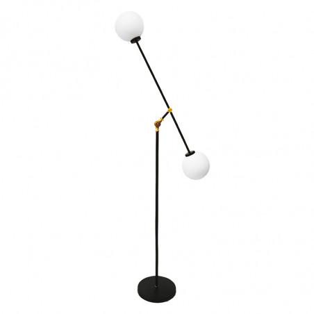 Lámpara Pie de Salón, armazón metálico en acabado negro, brazo articulado, 2 luces, con difusores de vidrio soplado.