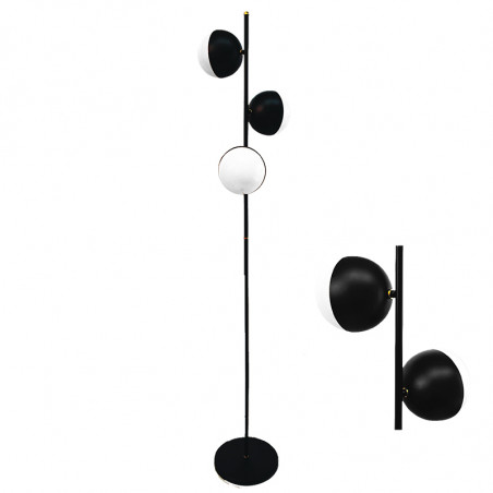 Lámpara pie de salón, armazón metálico en acabado negro, con elementos decorativos de latón en acabado satinado, 3 luces.