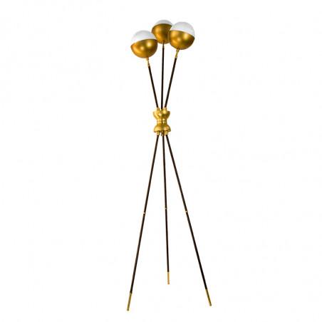 Lámpara de Pie de Salón, estilo Retro, estructura metálica en acabado dorado y negro, con elementos de latón en acabado satinado
