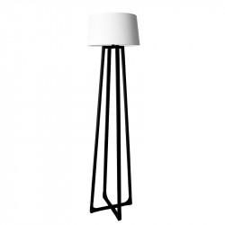 Lámpara Pie de Salón moderno, estructura metálica en acabado negro, 1 luz, con pantalla cilíndrica de tela.