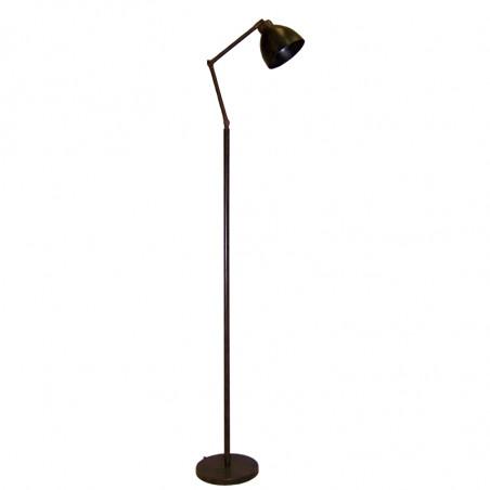 Lámpara Pie de Salón, estructura metálica en acabado negro, brazo flexible, 1 luz, con pantalla metálica en acabado negro.