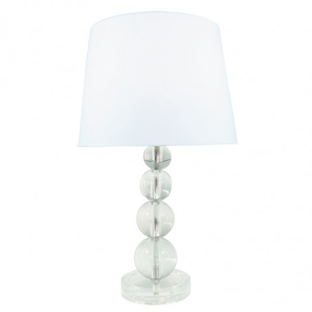 Lámpara de sobremesa, Serie Giorgia, armazón acrílico transparente, con bolas de cristal, 1 luz, con pantalla.