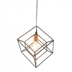 Lámpara de techo colgante, Serie Kubic, armazón metálico en acabado negro, con cubre-portalámparas en acabado cobre.