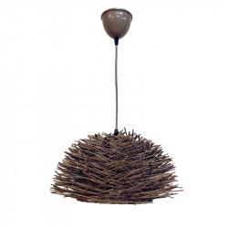 Lámpara de techo colgante, Serie Forest, armazón de ratan en acabado gris, 1 luz (altura de la pantalla 23 cm).