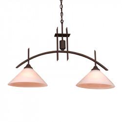 Lámpara de techo, Serie Arcus, armazón metálico en acabado negro, 2 luces, con tulipa de cristal en acabado alabastro.