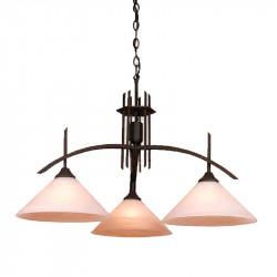 Lámpara de techo, Serie Arcus, armazón metálico en acabado negro, 3 luces, con tulipa de cristal en acabado alabastro.