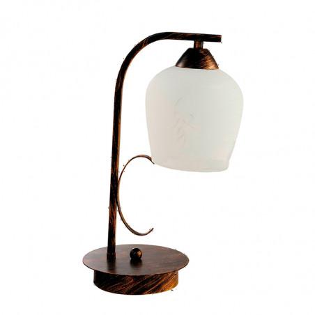 Lámpara de sobremesa, Serie Campanas, armazón metálico en acabado oro envejecido, 1 luz, con tulipa.