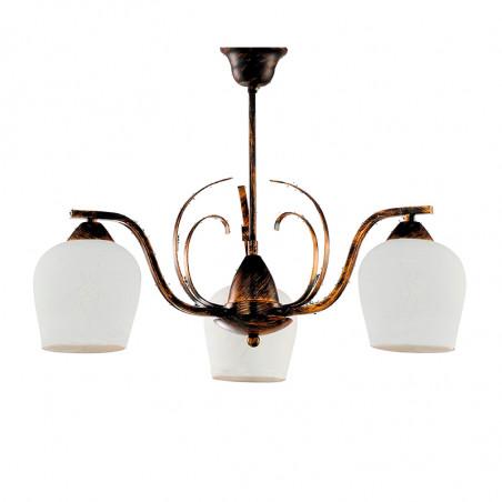 Lámpara de techo, Serie Campanas, armazón metálico en acabado oro envejecido, 3 luces, con difusores de vidrio soplado.