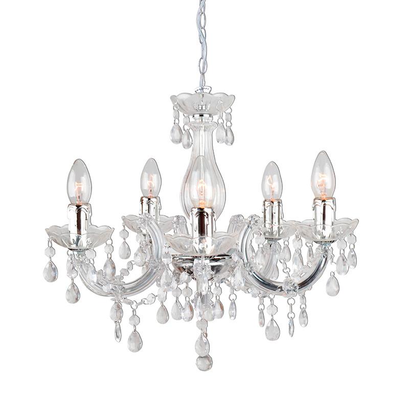 Lámpara de techo, Serie Florencia, armazón acrílico con detalles metálicos en acabado cromo, 5 luces, con vela.