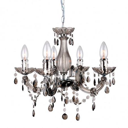 Lámpara de techo, Serie Florencia, armazón acrílico en acabado fumé, con detalles metálicos en acabado cromo, 5 luces.