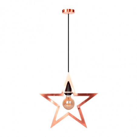 Lámpara de techo colgante, Serie Strar, armazón metálico en acabado cobre, 1 luz.