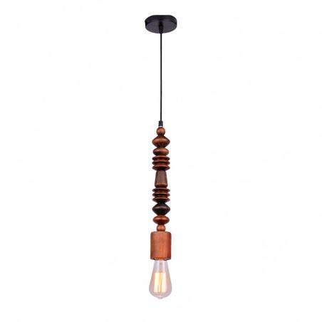 Lámpara de techo colgante, Serie Wood, armazón de madera en acabado nogal (altura de 40 cm) y metal en acabado negro