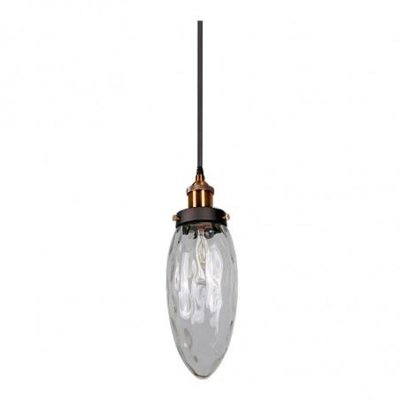 Lámpara de techo colgante, Serie Gott, armazón metálico en acabado negro, con elementos en cuero, 1 luz