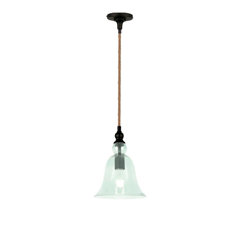 Lámpara de techo colgante, Serie Bell, armazón metálico en acabado negro, cable de cuerda, 1 luz.