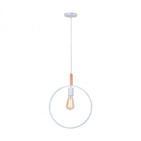 Lámpara de techo colgante, Serie Círculo, armazón metálico en acabado blanco, con elementos de madera, 1 luz.