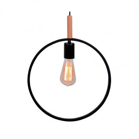 Lámpara de techo colgante, Serie Círculo, armazón metálico en acabado negro, con elementos de madera, 1 luz.