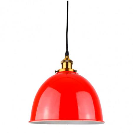Lámpara de techo colgante, Serie Belfast, armazón metálico en acabado cuero, 1 luz, con pantalla Ø 25 cm en acabado rojo.