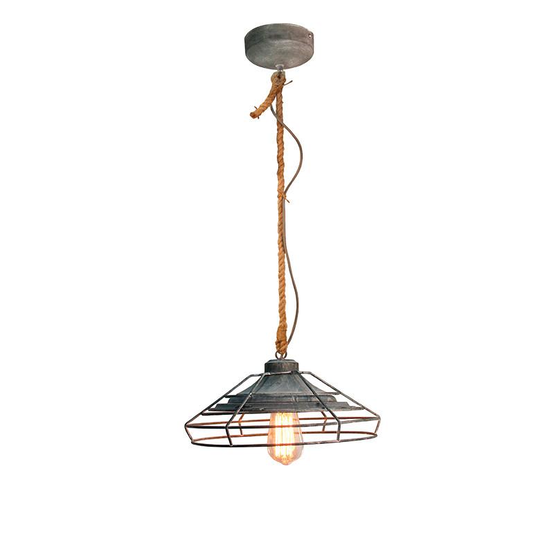 Lámpara de techo colgante, Serie Factory, armazón de metal, cemento y cuerda, 1 luz.
