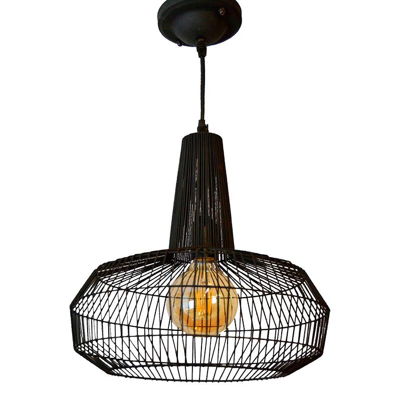 Lámpara de techo colgante, Serie Aina, armazón metálico en acabado negro, 1 luz.