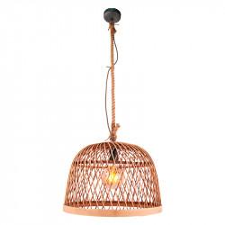Lámpara de techo colgante, Serie Manila, armazón de metal en acabado negro y cuerda, 1 luz, con pantalla Ø 30 cm de ratán.