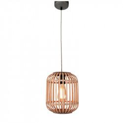 Lámpara de techo colgante, Serie Miva, armazón metálico en acabado negro, 1 luz, con pantalla Ø 22 cm de ratán.