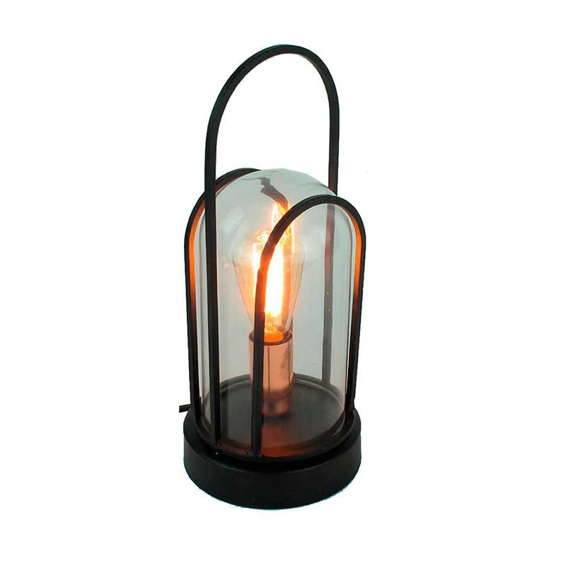 Lámpara de sobremesa, Serie Louisa, armazón metálico en acabado negro, 1 luz, con cristal transparente.